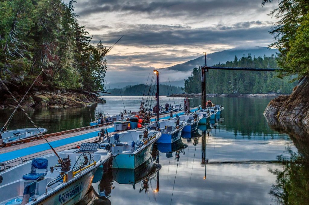 Its sunrise in Sportsman's Bay and a row of fishing boats are lined up dockside waiting for anglers to jump in and head out to the fishing grounds