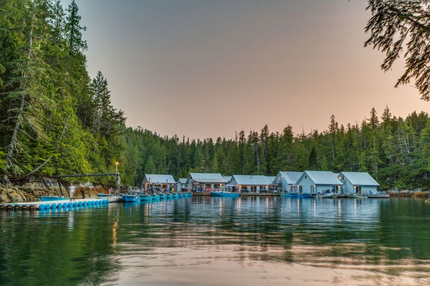The ocean surround Rivers Inlet Sportsman's Club fishing lodge as it floats in it's quiet bay in beautiful BC, Cananda