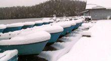 Boats in storage.
