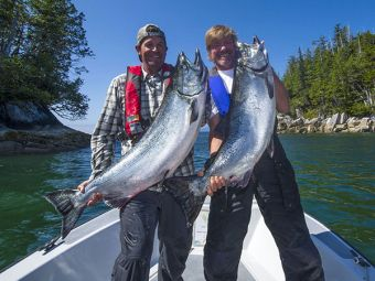 Guest Doug & host Simon with some ocean bright salmon.